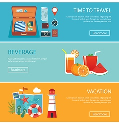Travel elements and concept flat banners set vector
