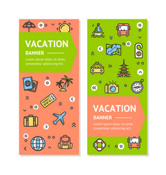 Travel flyer banner placard set vector