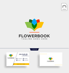 Tree plant and flower book education line logo vector