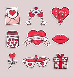valentines day cute love red cartoon icon set vector image