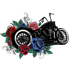 vintage chopper motorcycle and vector image