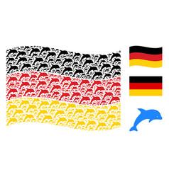 Waving germany flag mosaic of dolphin items vector