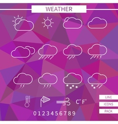 Weather icon set White thin line elements on vector image