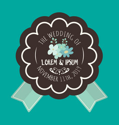 Wedding badge image vector