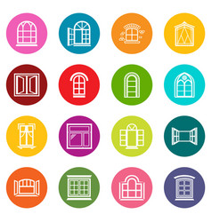 window design icons set colorful circles vector image