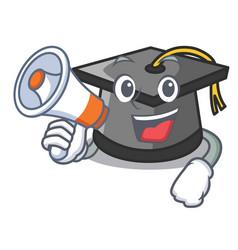 With megaphone graduation hat character cartoon vector