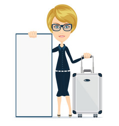 woman traveler with suitcase and blank space for vector image