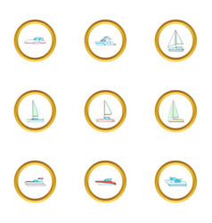 boat icons set cartoon style vector image