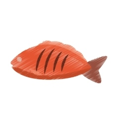 hand colored drawing fish icon vector image vector image