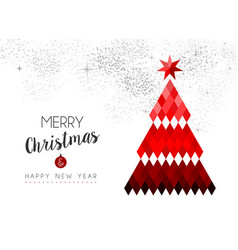 merry christmas design of red low poly pine tree vector image vector image