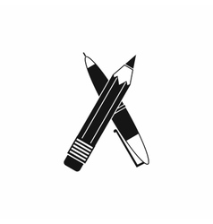 Pen and pencil icon simple style vector image