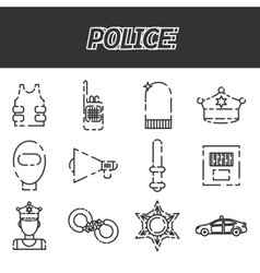 Police icon set vector image