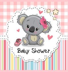 Baby shower greeting card with cartoon koala girl vector