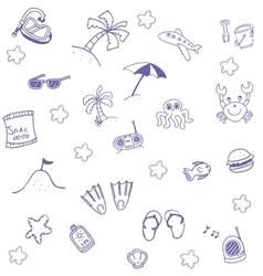 Beach summer doodle art vector image