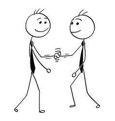 cartoon of two men shaking their hands vector image