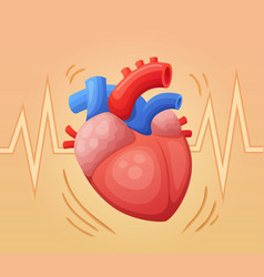 heart beating cartoon vector image