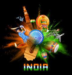 india background in tricolor and ashoka chakra vector image vector image