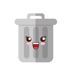 kawaii trash bucket icon vector image