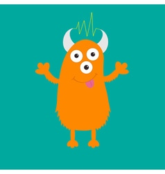 Orange monster with eyes horns tongue electricity vector image vector image