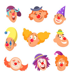 avatar set of funny clowns with different emotions vector image