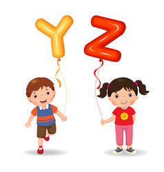 cartoon kids holding letter yz shaped balloons vector image vector image