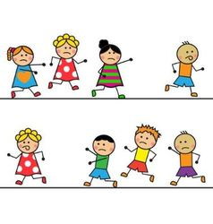 Cartoon people run and catch up with each other vector image vector image