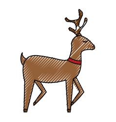 cute reindeer christmas icon vector image