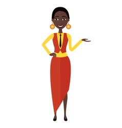 Presenting and smiling african young woman vector image vector image