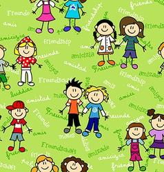 Seamless kids friendship pattern vector image vector image