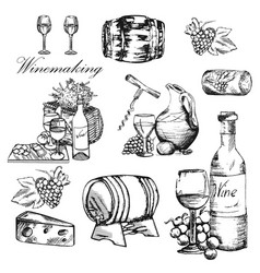 wine set winemaking products in sketch style vector image vector image