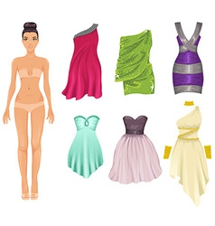 dress up paper doll with an assortment of cocktail vector image vector image