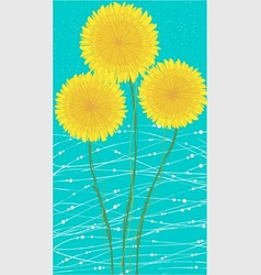 long card yellow dandelion vector image