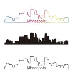 Minneapolis skyline linear style with rainbow vector image vector image