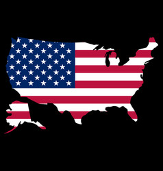 silhouette country borders map of usa on national vector image