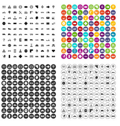 100 road icons set variant vector image