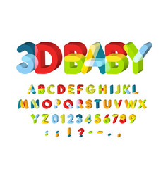 3d alphabet for bazone decoration kids zone vector image