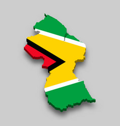 3d isometric map guyana with national flag vector image