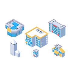 3d isometric set city building with hotel and shop vector