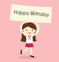 a girl holding happy birthday banner vector image