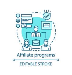 Affiliate programs blue concept icon affiliate vector
