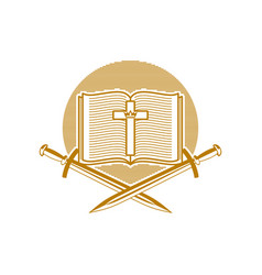 An open bible the cross of jesus christ and sword vector