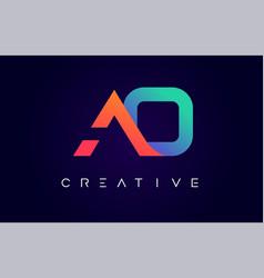 Ao logo letter design with modern creative vector