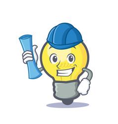 Architect light bulb character cartoon vector