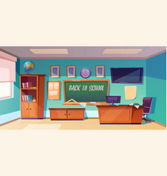 back to school poster with empty classroom vector image