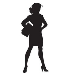 Beautiful strong businesswoman black silhouette vector image