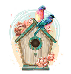 birdhouse with flowers and birds wall sticker vector image