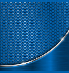 blue metal perforated background with silver wave vector image