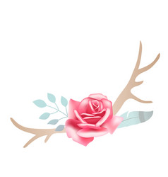Boho styled beautiful pink rose with deer antlers vector