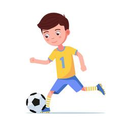 boy soccer kicks ball on run vector image