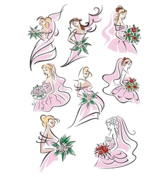 Bride sketches holding bouquet of flowers vector image